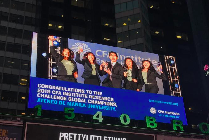 TIMES SQUARE MOMENT. The winning team is flashed on a digital billboard in New York's Times Square. Photo courtesy of Alfonso Miguel Sevidal