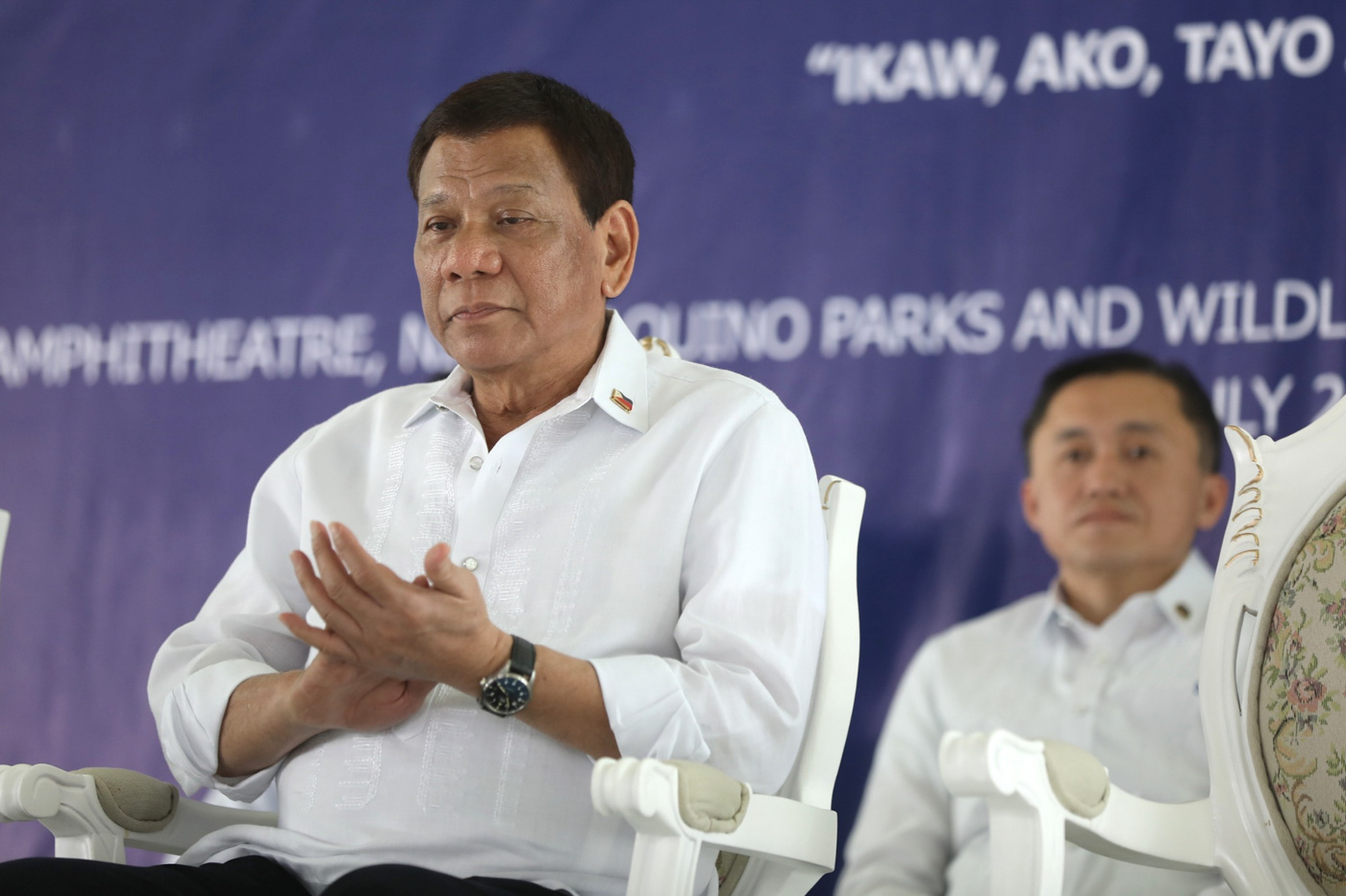 STILL THERE. SAP Bong Go is President Duterte's constant companion. Malacau00f1ang photo
