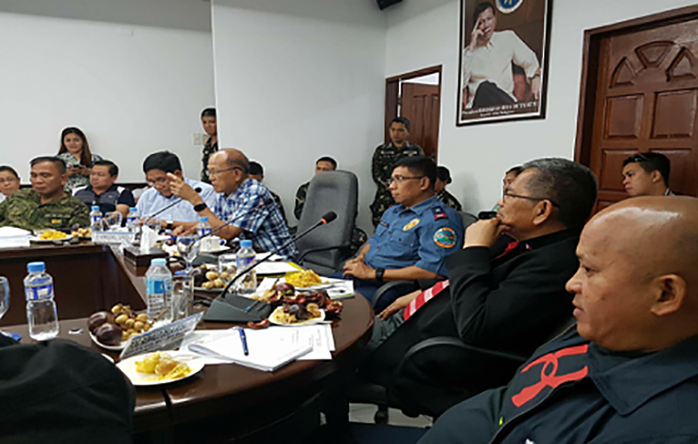 DAVAO BLAST. PNP chief Director General Ronald dela Rosa (far right) during the Command Conference of the Regional Peace u0026 Order Council meeting at the PRO11 headquarters in Davao City on September 3, 2016. Photo by Colonel Edgard Arevalo/AFP PAO