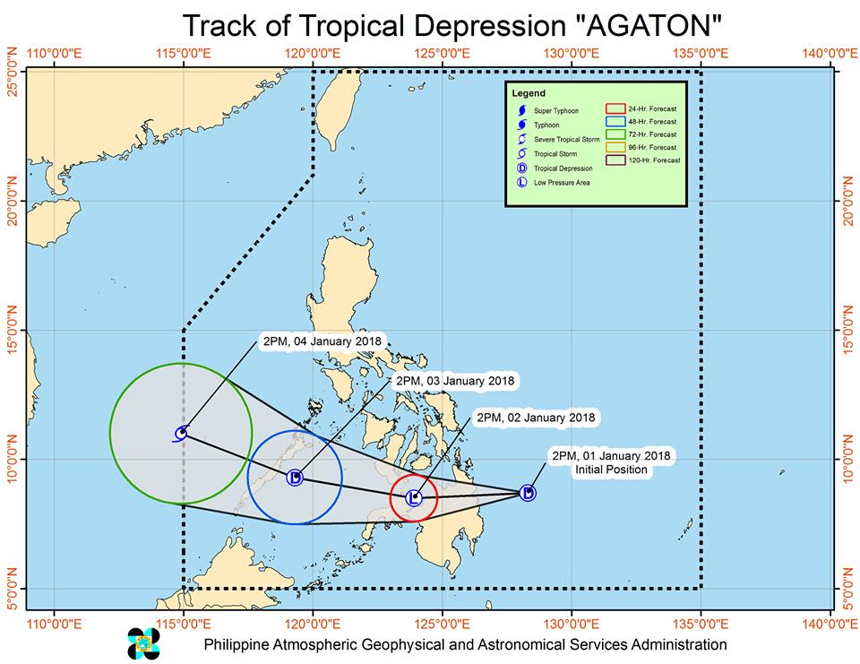 Forecast track of Tropical Depression Agaton as of January 1, 5 pm. Image courtesy of PAGASA