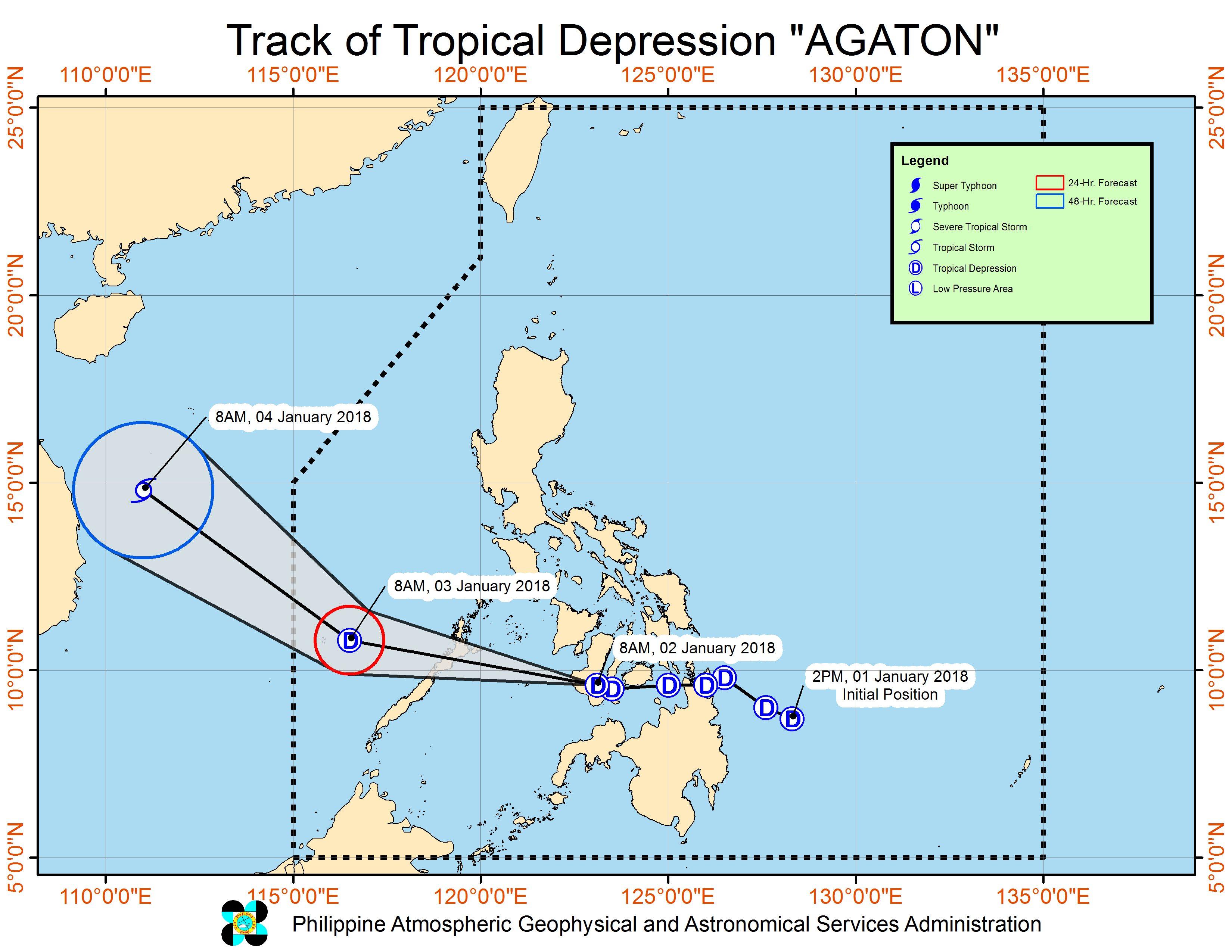 Forecast track of Tropical Depression Agaton as of January 2, 11 am. Image courtesy of PAGASA