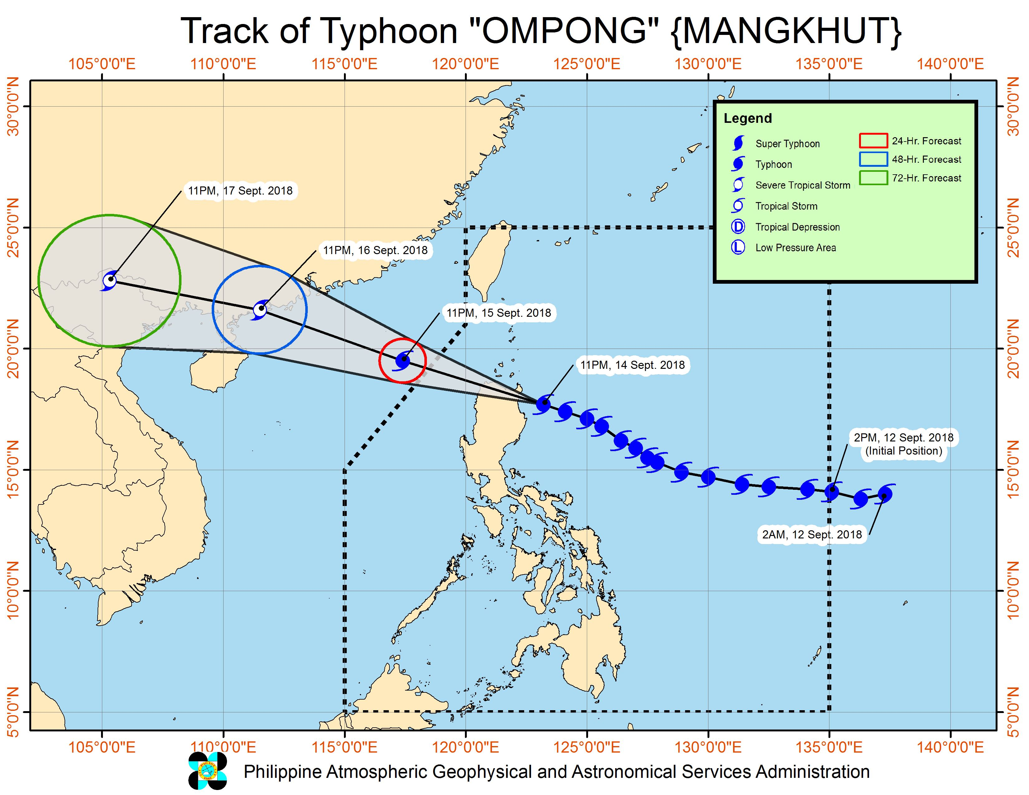 Forecast track of Typhoon Ompong (Mangkhut) as of September 15, 2018, 2 am. Image from PAGASA