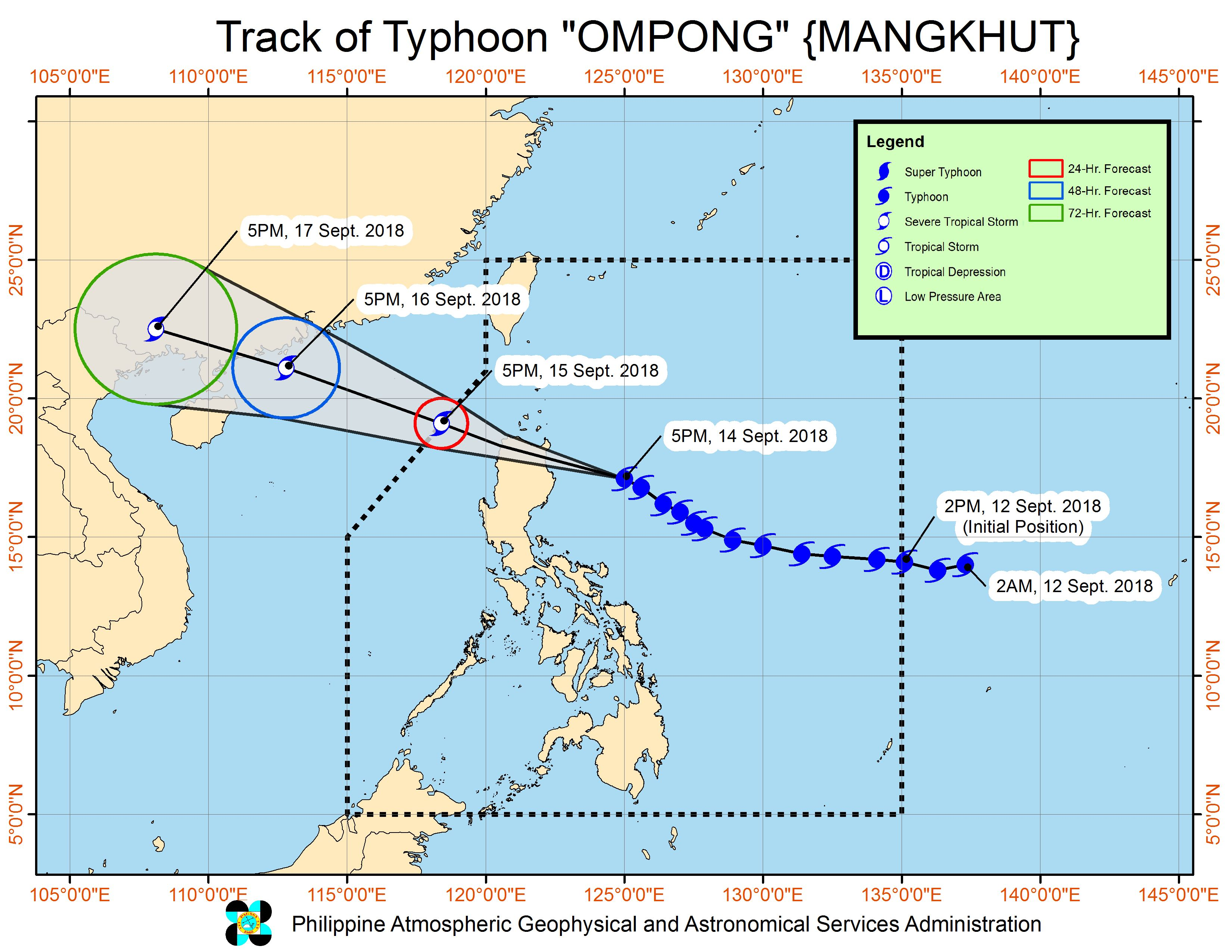 Forecast track of Typhoon Ompong (Mangkhut) as of September 14, 2018, 8 pm. Image from PAGASA