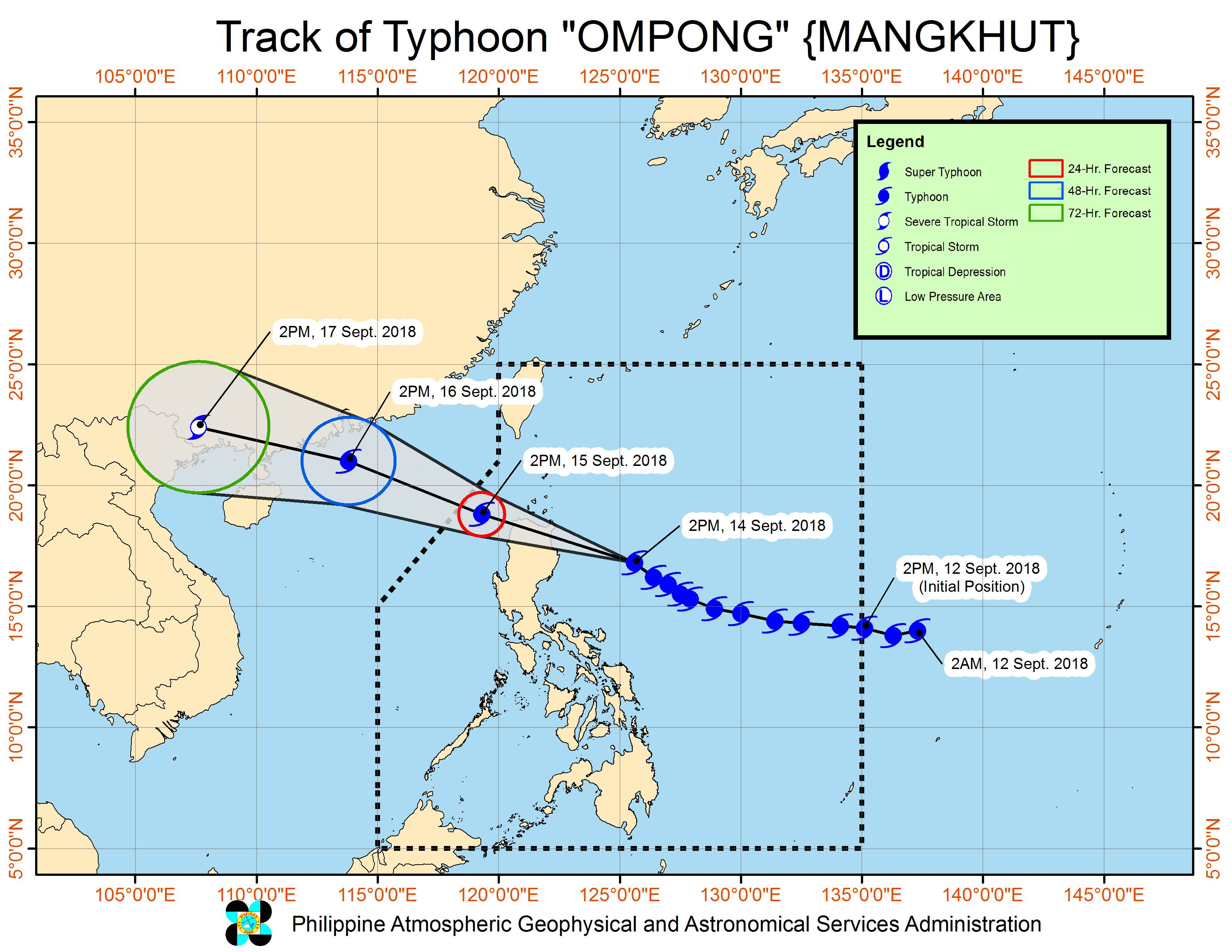 Forecast track of Typhoon Ompong (Mangkhut) as of September 14, 2018, 5 pm. Image from PAGASA