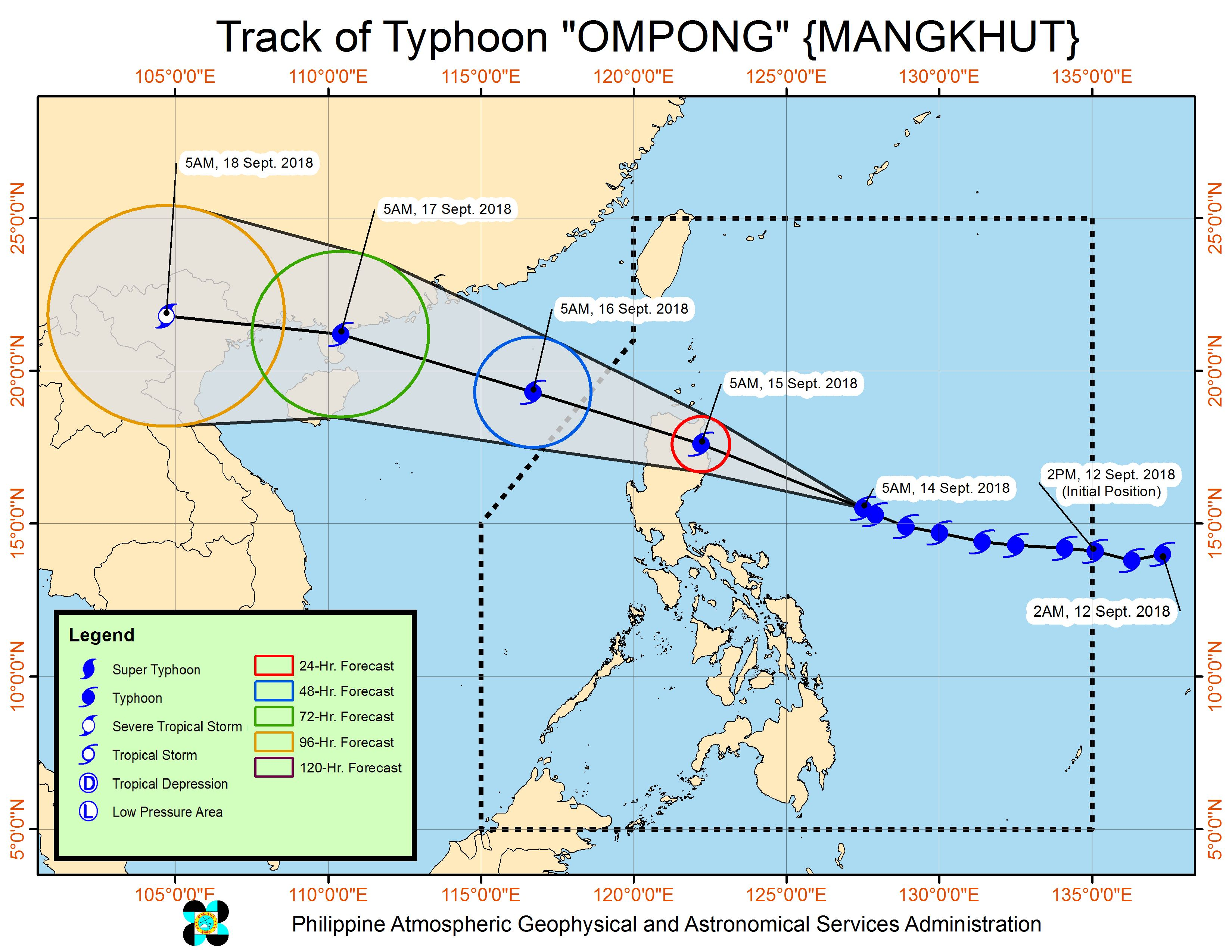 Forecast track of Typhoon Ompong (Mangkhut) as of September 14, 2018, 8 am. Image from PAGASA
