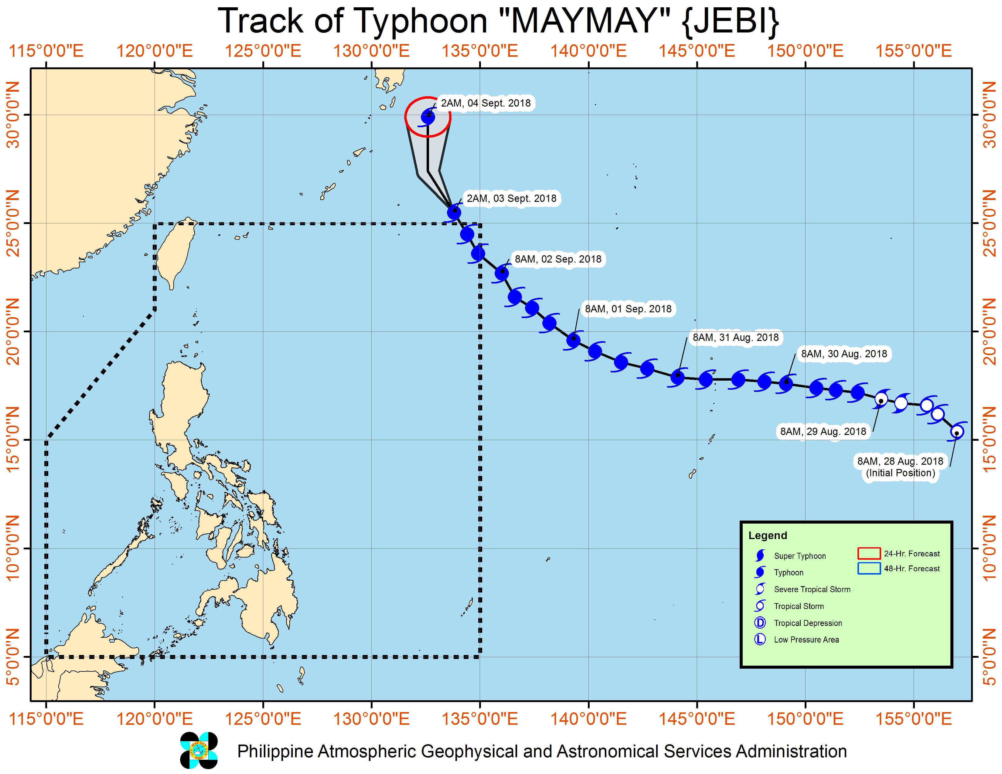 Forecast track of Typhoon Maymay (Jebi) as of September 3, 2018, 5 am. Image from PAGASA
