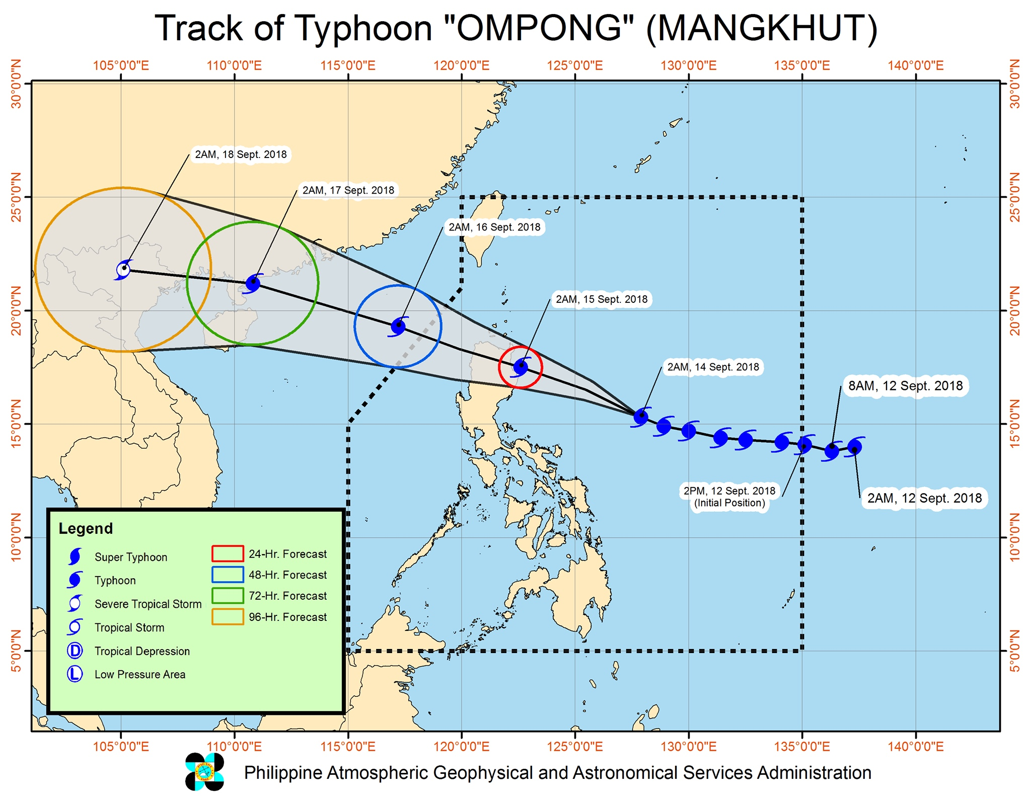 Forecast track of Typhoon Ompong (Mangkhut) as of September 14, 2018, 5 am. Image from PAGASA