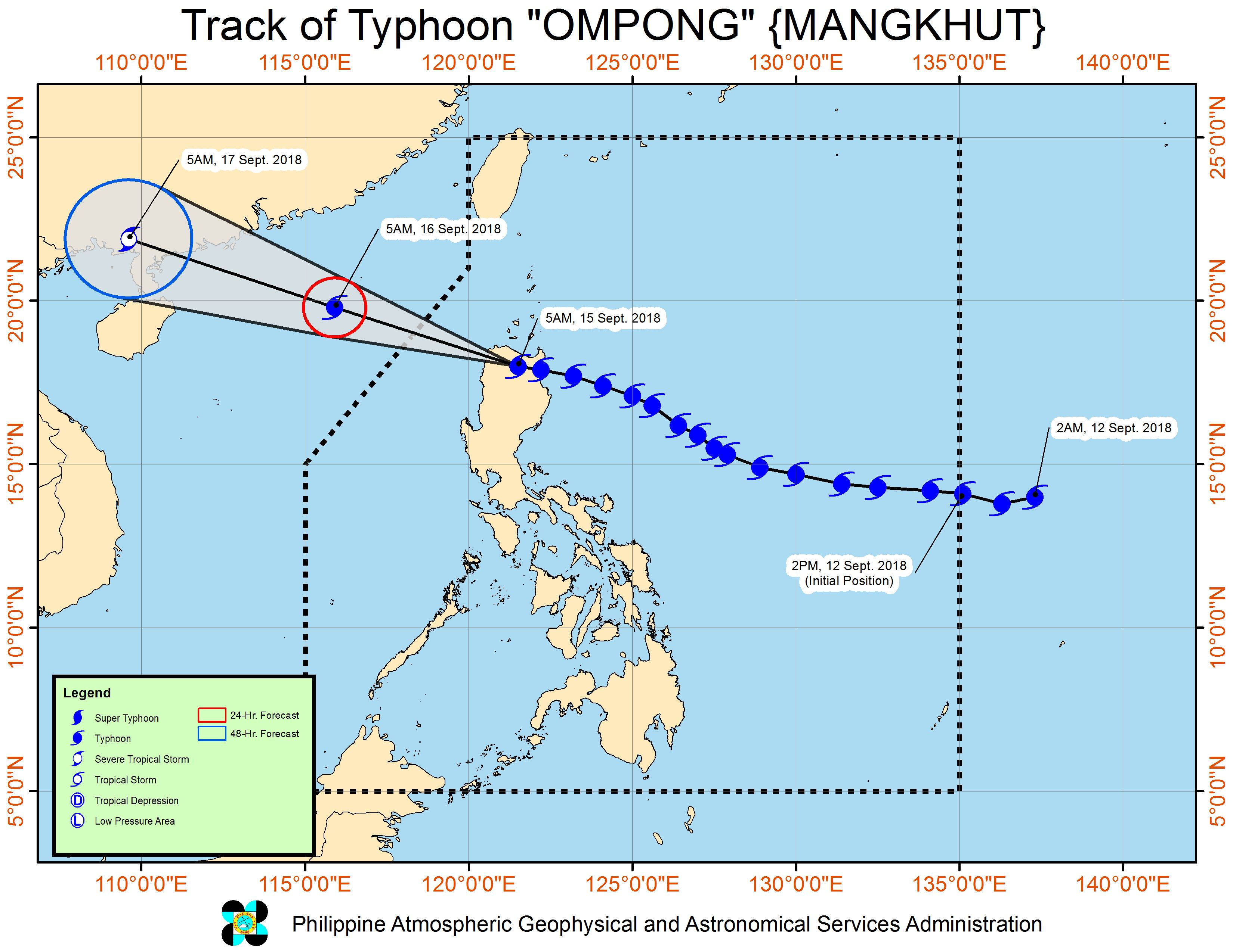 Forecast track of Typhoon Ompong (Mangkhut) as of September 15, 2018, 8 am. Image from PAGASA