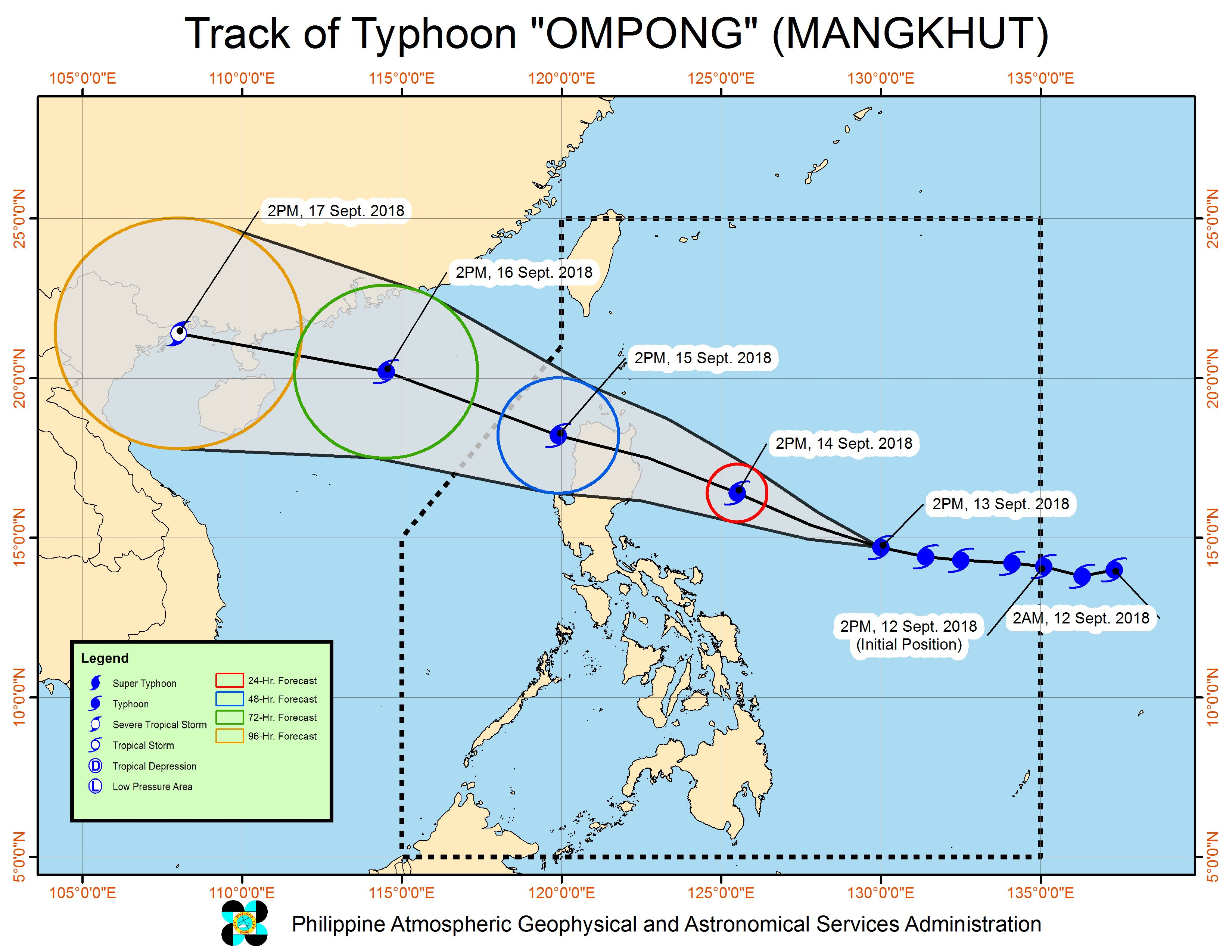 Forecast track of Typhoon Ompong (Mangkhut) as of September 13, 2018, 5 pm. Image from PAGASA