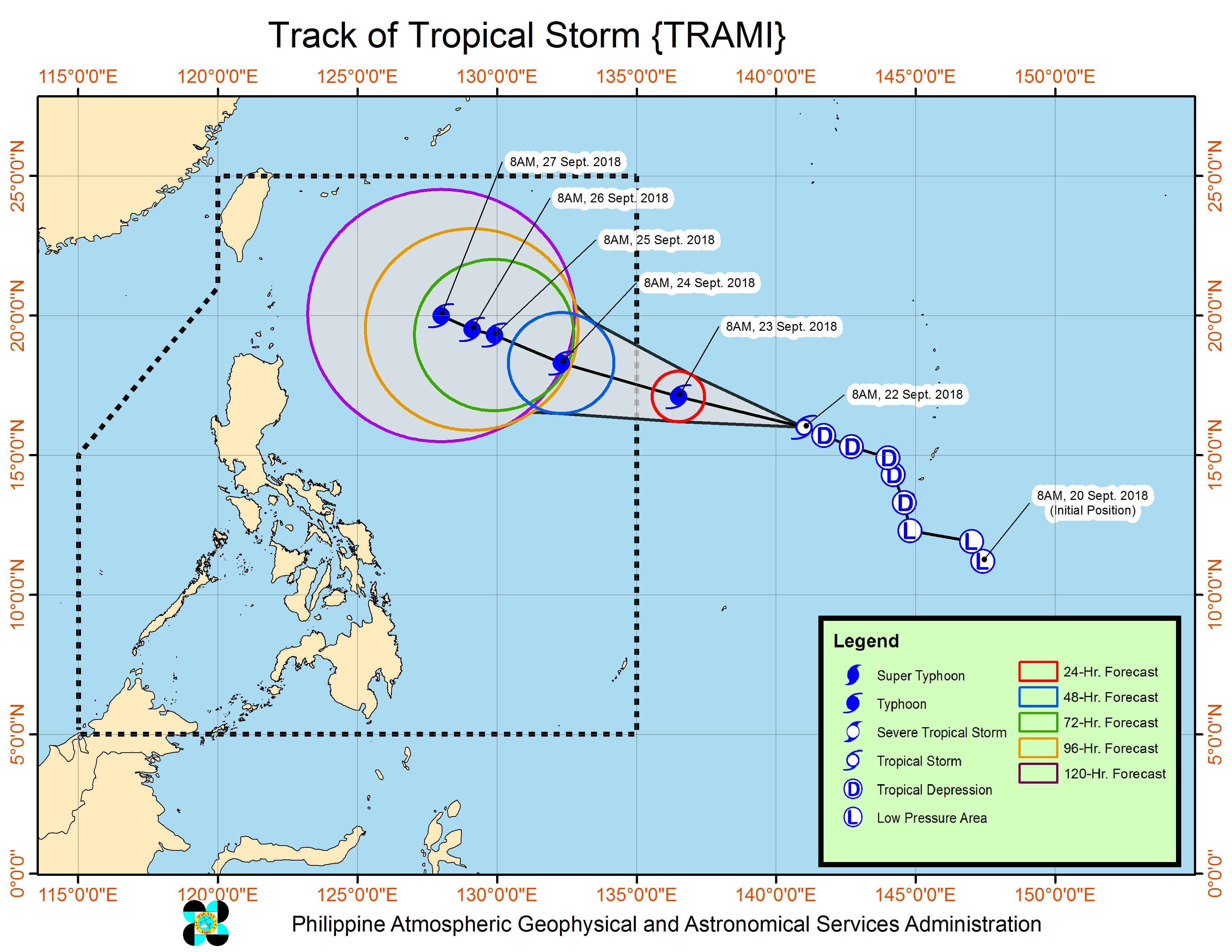 Forecast track of Tropical Storm Trami as of September 22, 2018, 11 am. Image from PAGASA