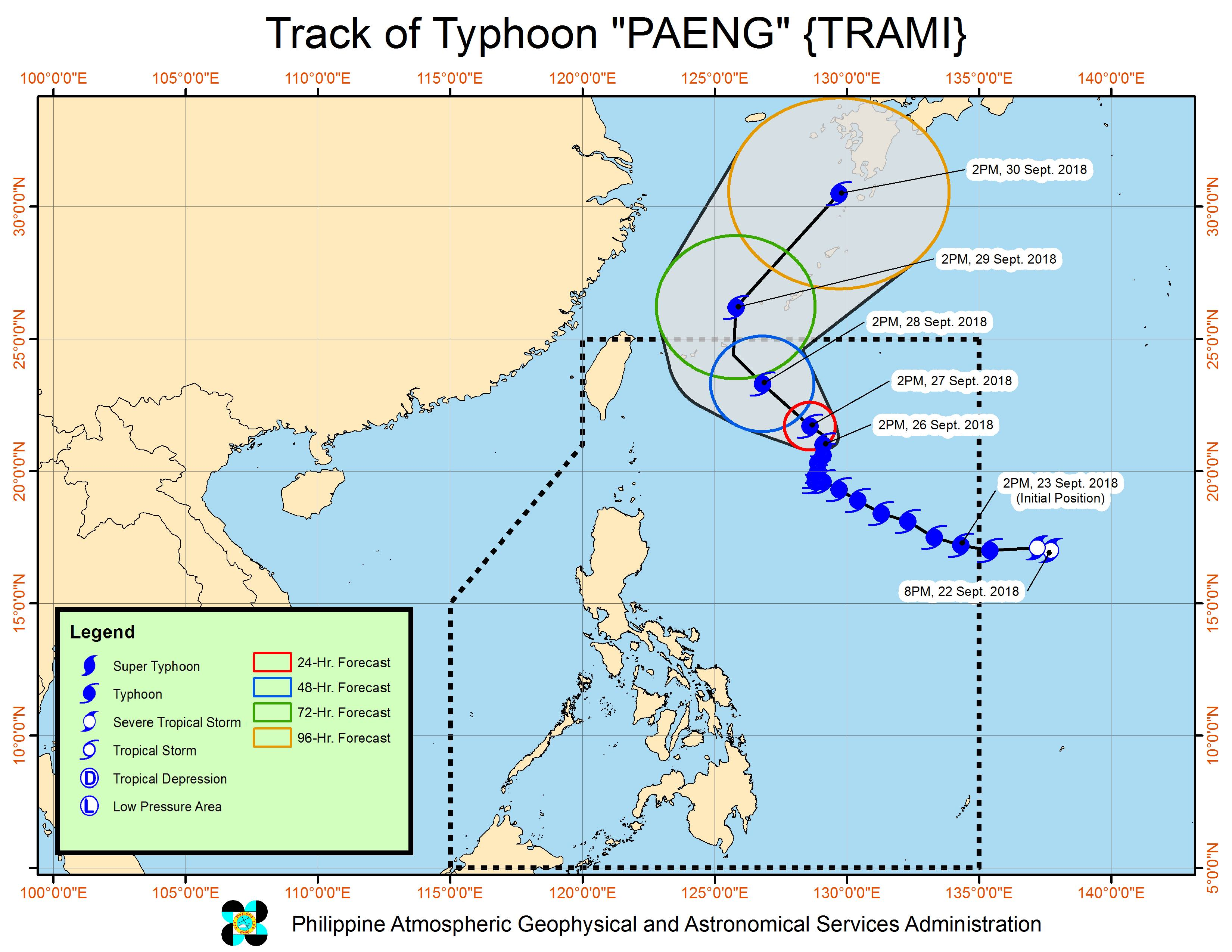 Forecast track of Typhoon Paeng (Trami) as of September 26, 2018, 5 pm. Image from PAGASA