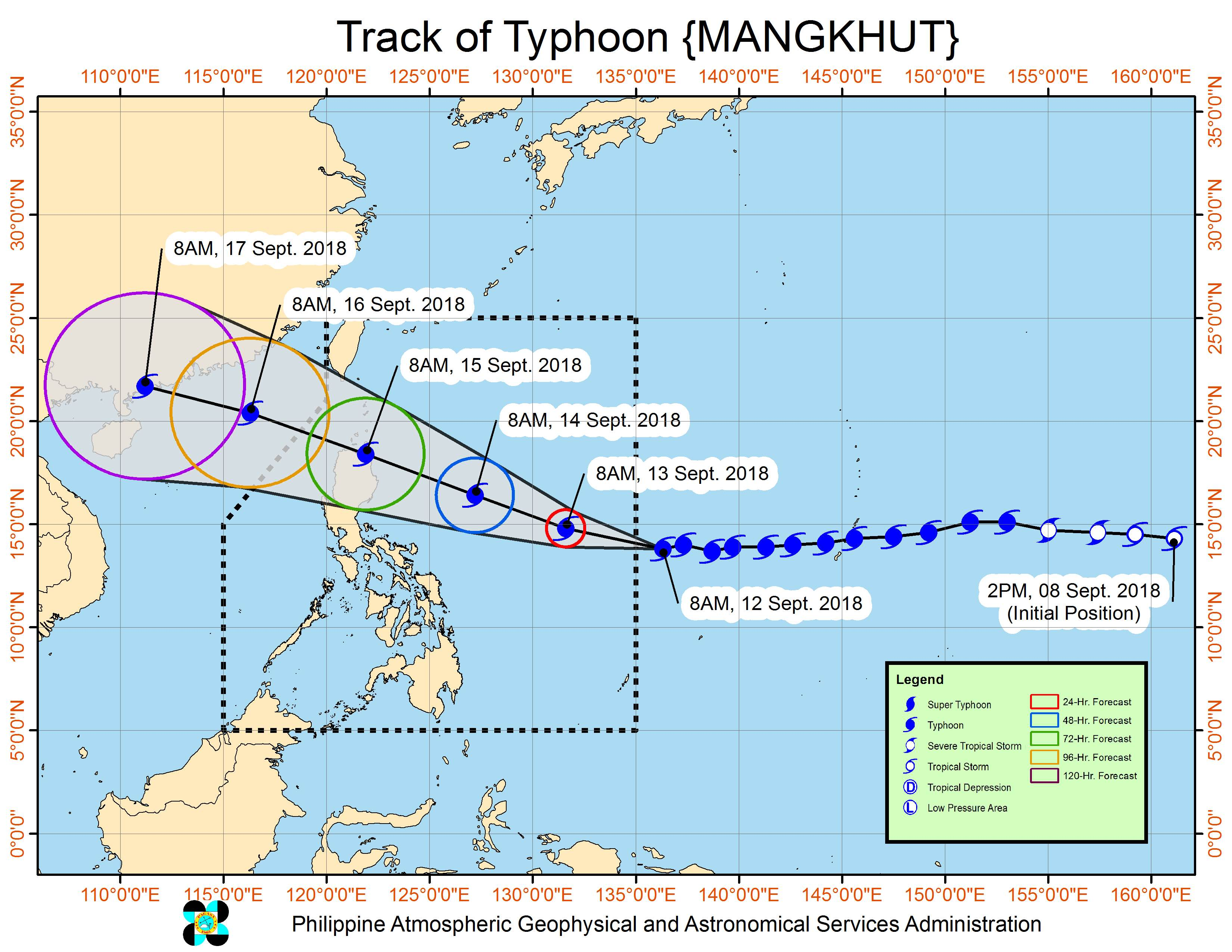 Forecast track of Typhoon Mangkhut as of September 12, 2018, 11 am. Image from PAGASA
