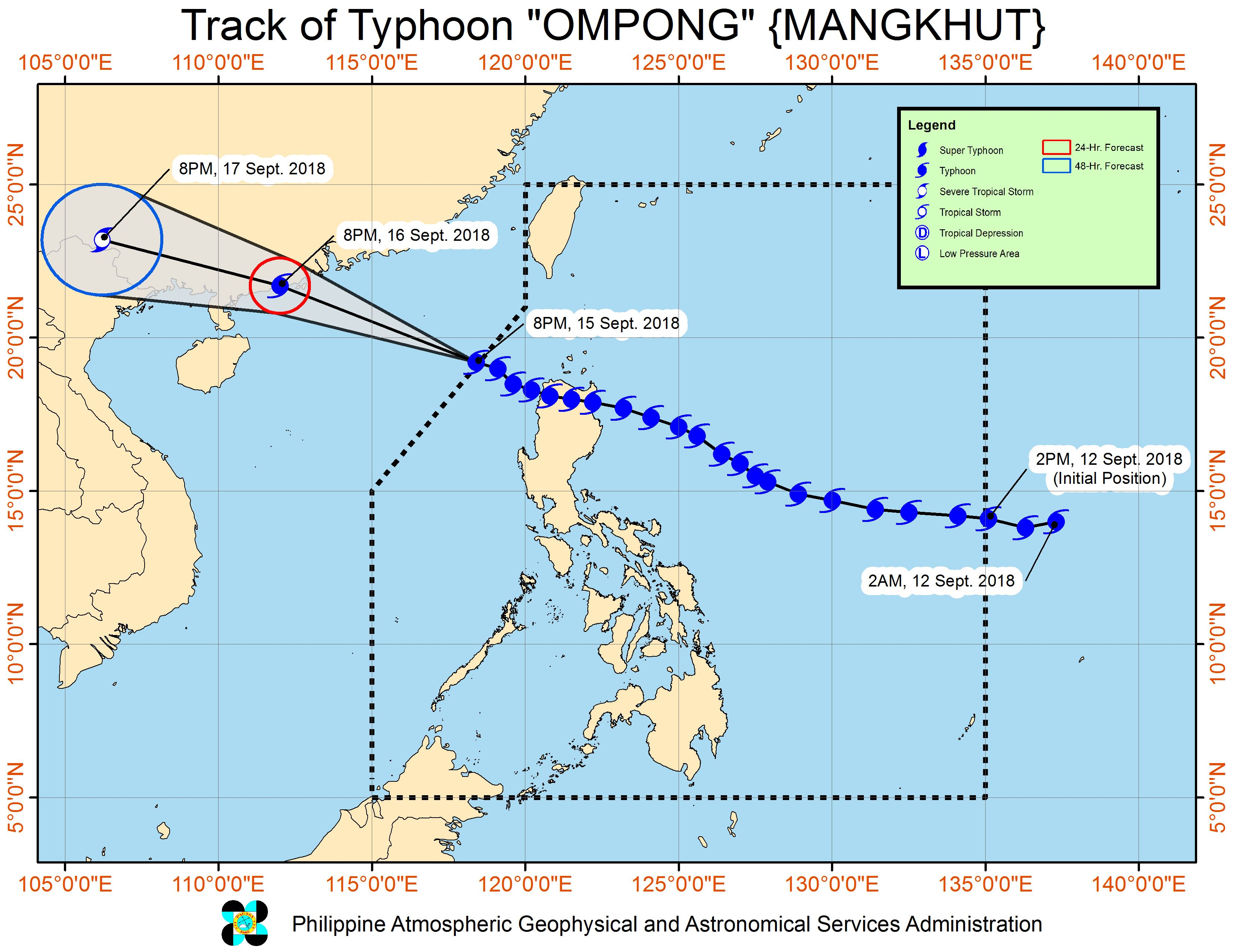 Forecast track of Typhoon Ompong (Mangkhut) as of September 15, 2018, 11 pm. Image from PAGASA
