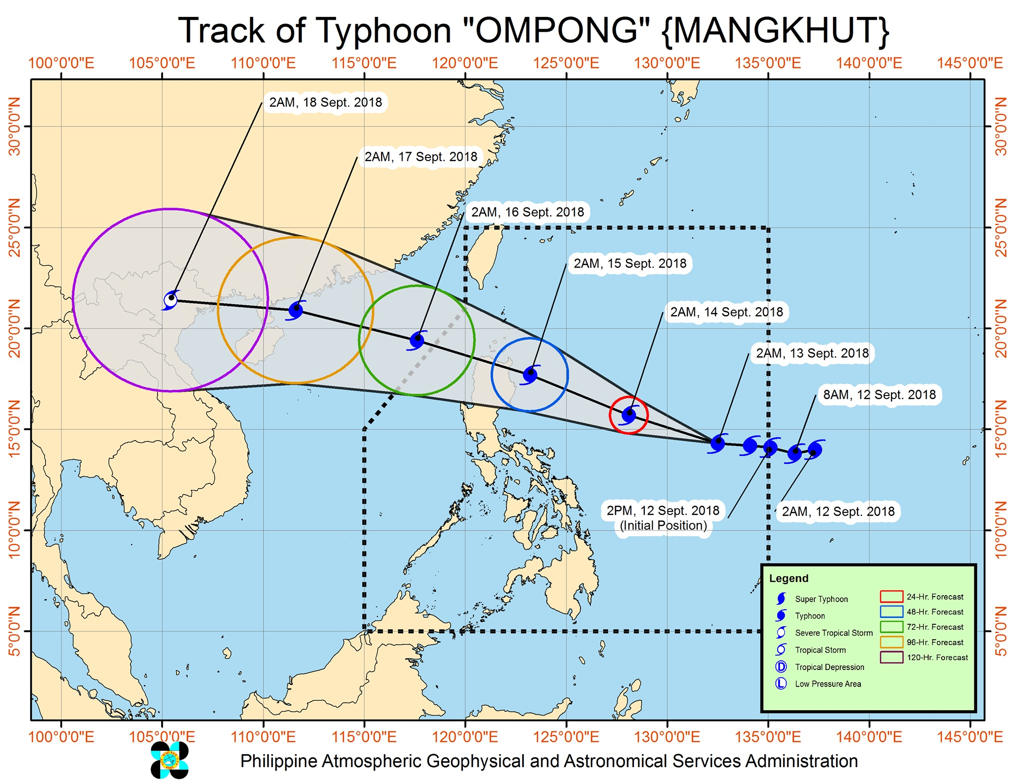 Forecast track of Typhoon Ompong (Mangkhut) as of September 13, 2018, 5 am. Image from PAGASA