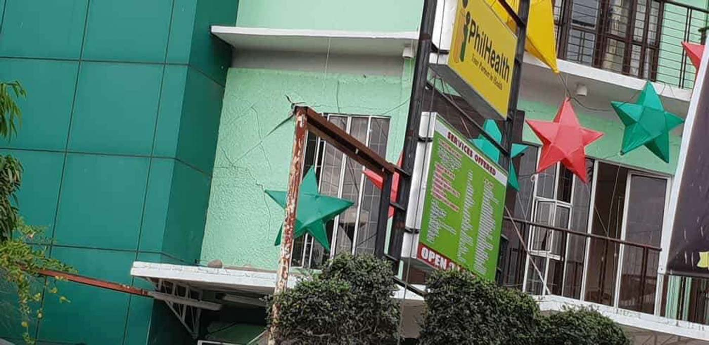 DAMAGED. Cracks are seen on the Viacrucis Medical Hospital in Bansalan, Davao del Sur. Photo from Noraida Abo/UnYPhil-Women