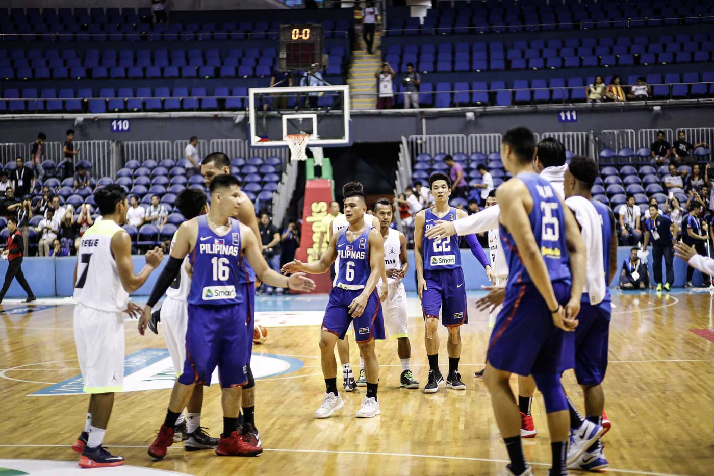 GOOD GAME. Players from both the Philippines and Myanmar acknowledge each other after the game. Photo by Josh Albelda/Rappler