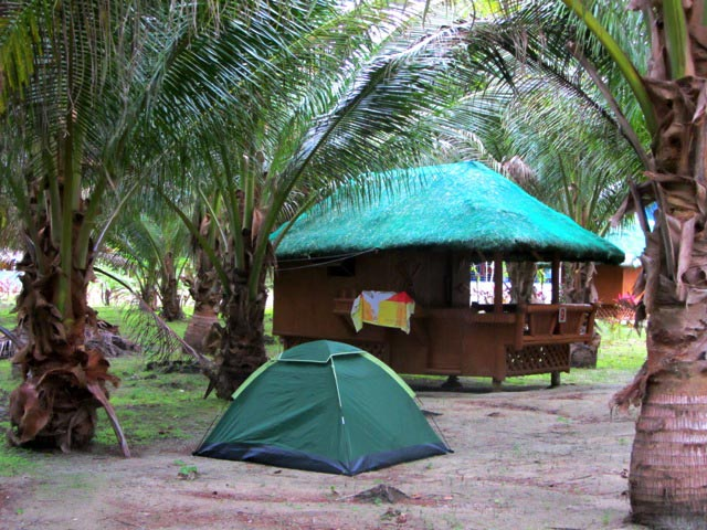BACK TO BASICS. Resorts like this in Cagbalete offer camping facilities, huts and fan rooms. Photo by Liz Argulla