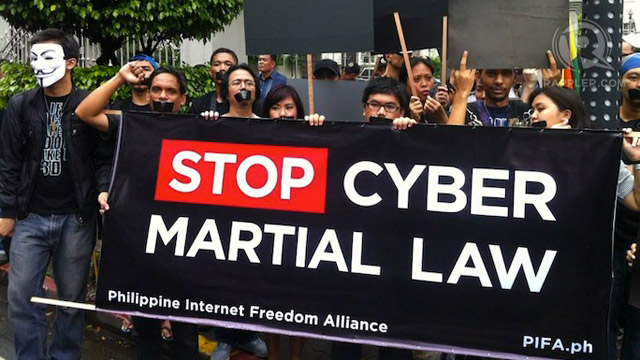 CYBERCRIME PROTESTS. Bloggers, human rights advocates and activists held protests against the Cybercrime Law in October. File photo by Purple Romero
