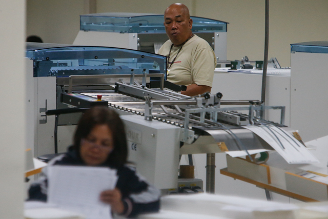 DONE AT NPO. While ballot-printing is finished, voter vigilance should continue. Photo by Rappler/John Javellana