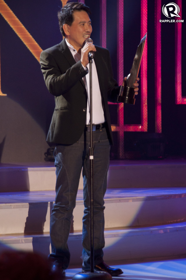BEST PRODUCTION DESIGN. Brillante Mendoza accepts the award for 'Thy Womb'