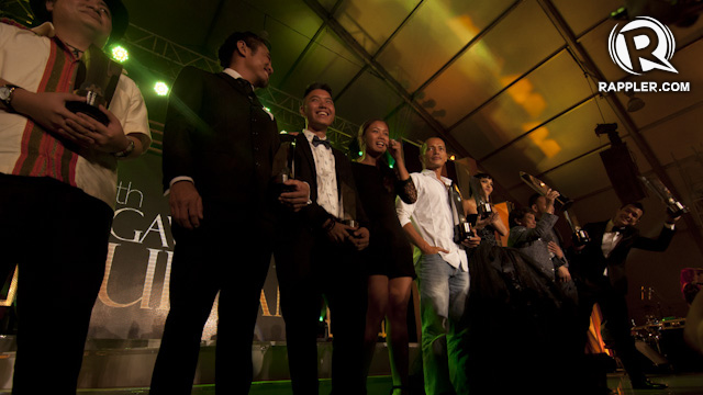 THE TOAST OF PHILIPPINE CINEMA. This year's awardees join each other on stage