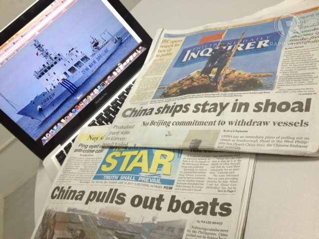 CONFLICTING STATEMENTS. Even two of the Philippines' biggest broadsheets carried conflicting banner stories on China's statements.