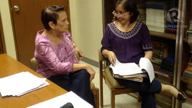 PRO-RH. Ateneo professors Mary Racelis (left) and Marita Castro Guevara (right) explain the statement by 14 Ateneo professors supporting the RH bill. Photo by Paterno Esmaquel II