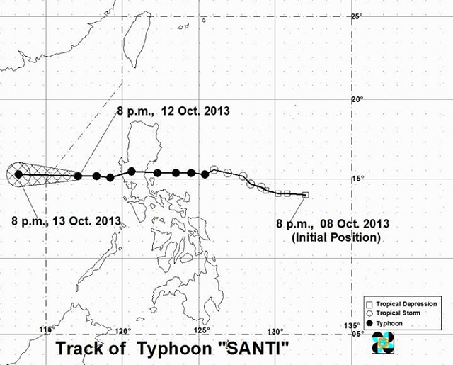 SANTI INTENSIFIES. Typhoon Santi is expected to be outside the Philippine Area of Responsibility by Sunday. Image from PAGASA