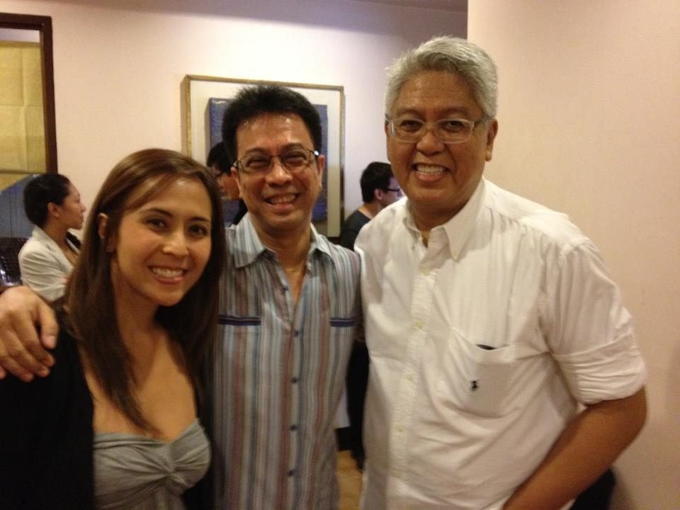 RACHEL WITH DAD HAJJI and Ryan Cayabyab at the rehearsals for the PhilPOP finals night on July 14. Photo courtesy of Alynna Velasquez