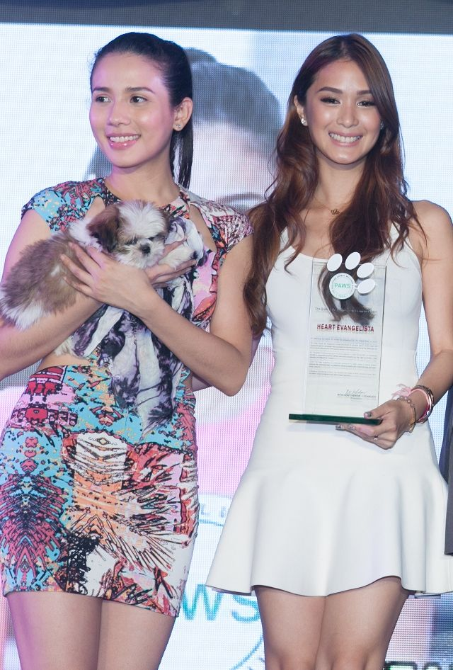 ASPIN ADVOCATE. Heart Evangelista was inducted into the Order of the Platinum Paw by 2012 awardee Karylle