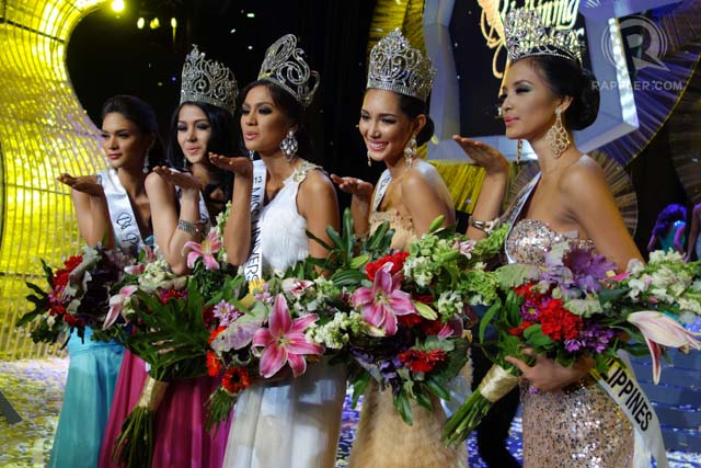 SMILES AND BLOWED KISSES. The top 5 Binibining Pilipinas 2013 winners shortly after they were crowned at Bb Pilipinas Gold on April 14 at the Smart Araneta Coliseum. All photos by Edric Chen