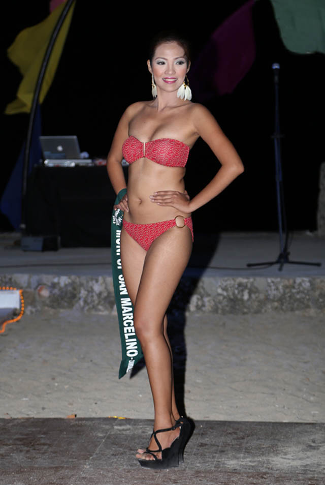 SWIMWEAR COMPETITION. Janine Asanion at the swimwear competition on April 13 at Golden Sunset Resort, Batangas. Photo courtesy of Carousel Productions