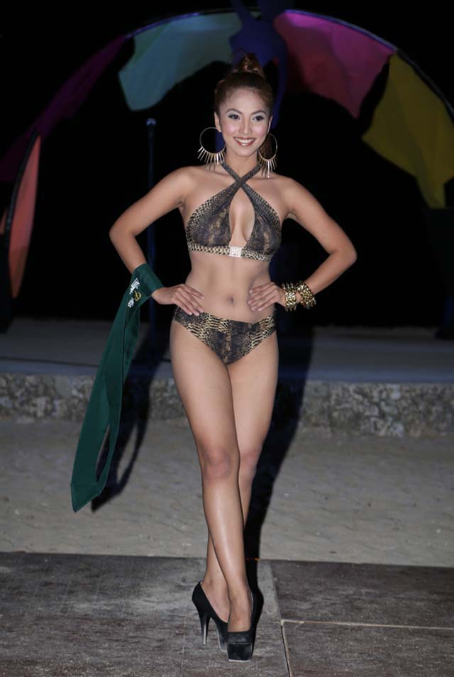 SWIMWEAR COMPETITION. Darlene May Reyes at the swimwear competition on April 13 at Golden Sunset Resort, Batangas. Photo courtesy of Carousel Productions