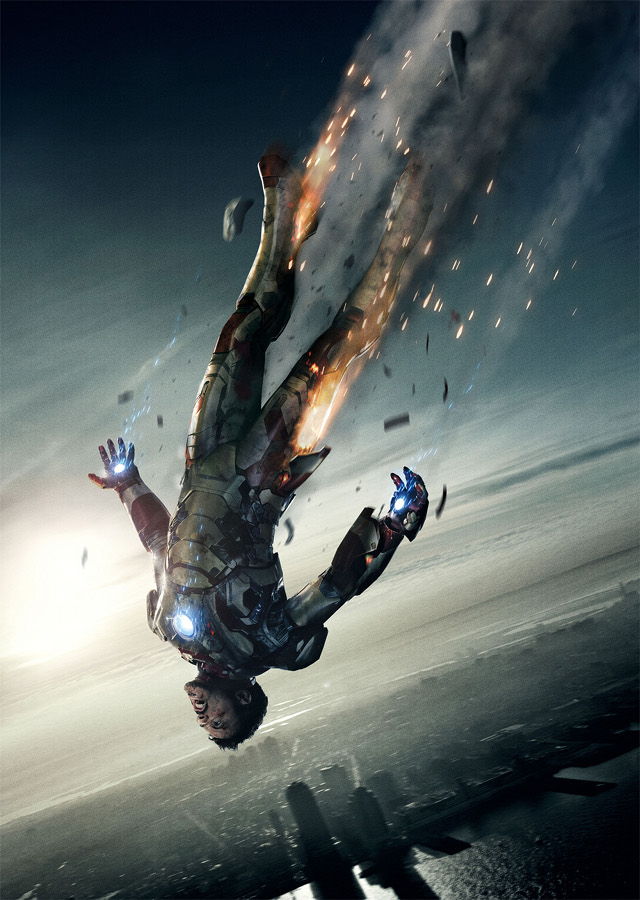 EXHILARATING MOMENT. Iron Man in freefall