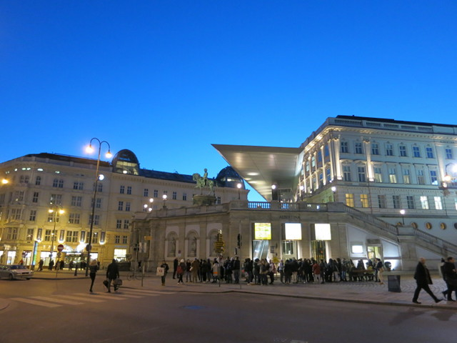 A nighttime view of the Albertina Museum