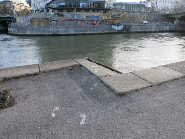 Steps leading down to the Donaukanal, a tributary of the Danube River