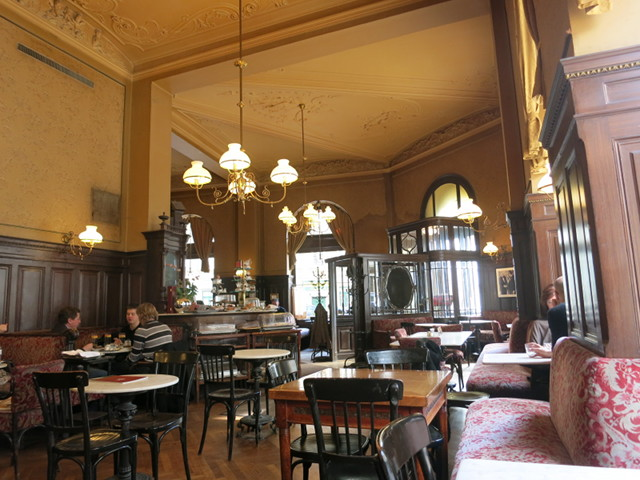 The elegant interior of Cafe Sperl