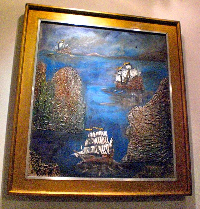 HISTORY REVIEW. Armando Toleza shows in some of his paintings significant historical moments in Eastern Visayas. This one is Ferdinand Magellanu2019s landing in Homonhon Island