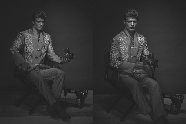 A CAMERA STUDY. Menswear by Danilo Franco. Vintage camera courtesy of Jason Quibilan.