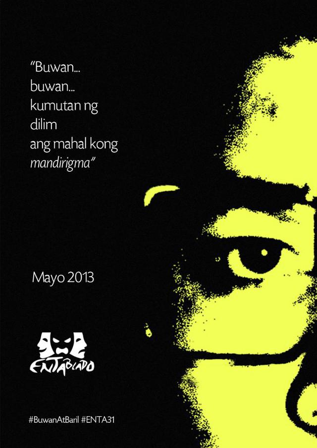 REMEMBRANCE. Ateneo ENTABLADO's production of 'Buwan at Baril' by Chris Mallado is a commemoration of Ninoy Aquino's 30th death anniversary. Image courtesy of Ateneo ENTABLADO