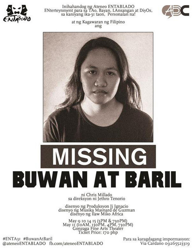 MISSING. 'Buwan at Baril' looks at the Marcos years through the eyes of its 8 characters. Image courtesy of Ateneo ENTABLADO