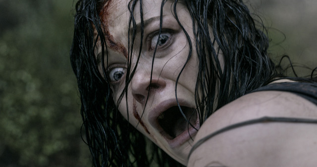 LOOK AWAY, IF YOU CAN. Lead star Jane Levy acts out the likely reaction of many an u2018Evil Deadu2019 viewer