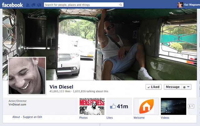 FACEBOOK-SAVVY. Diesel's new cover photo which he uploaded on May 15 at 2:30pm. Screen shot from Facebook