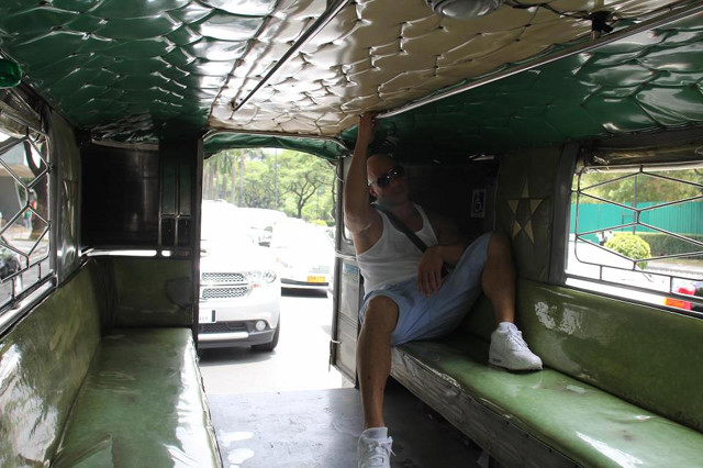 ANOTHER LOOK. Vin Diesel relaxed in a Filipino jeepney. Photo from the Vin Diesel Facebook page
