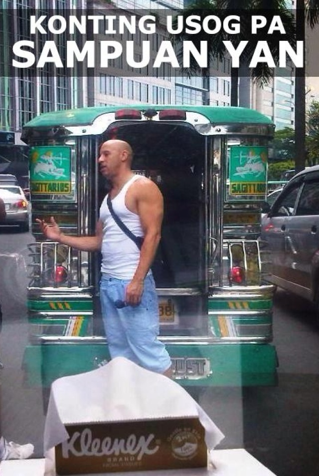 MANONG VIN. Vin Diesel goes from driving fast cars to 'barking' for jeepneys. Photo from Facebook