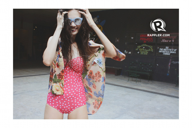 LOVE CURVES. Polka-dot monokini from For Me. Floral cover up from Folded and Hung.