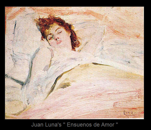 ENSUENOS DE AMOR. The lady in this oil on wood painting is Maria de la Paz Pardo de Tavera, Lunau2019s wife whom he killed by gunshot because of jealousy. Photo used with permission from Discovering the Old Philippines: People, Places, Heroes, Historical Events on Facebook