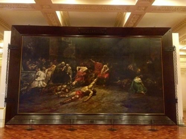 SPOLIARIUM. Antonio Dumlao, a Filipino artist that specializes in art restoration, was commissioned to give this obra maestra a facelift after it was sliced into 3 parts because the Spanish government had to ship it as a gift to the Philippines. Photo used with permission from Lili Ramirez (marilil.wordpress.com)