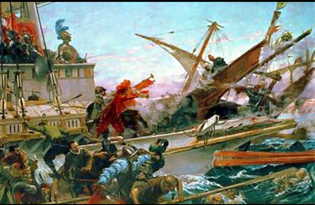THE BATTLE OF LEPANTO. This Juan Luna painting is one of the magnificent collections of paintings that hang in the wall of the Senate Hall of Spain. Photo used with permission from Lili Ramirez (marilil.wordpress.com)