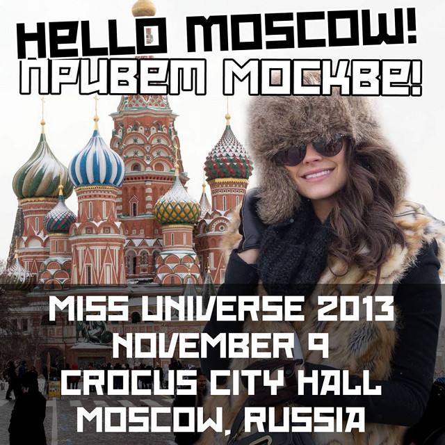 RUSSIA-BOUND. Miss Universe 2013 will be in Moscow. Image from The Official Miss Universe Facebook page
